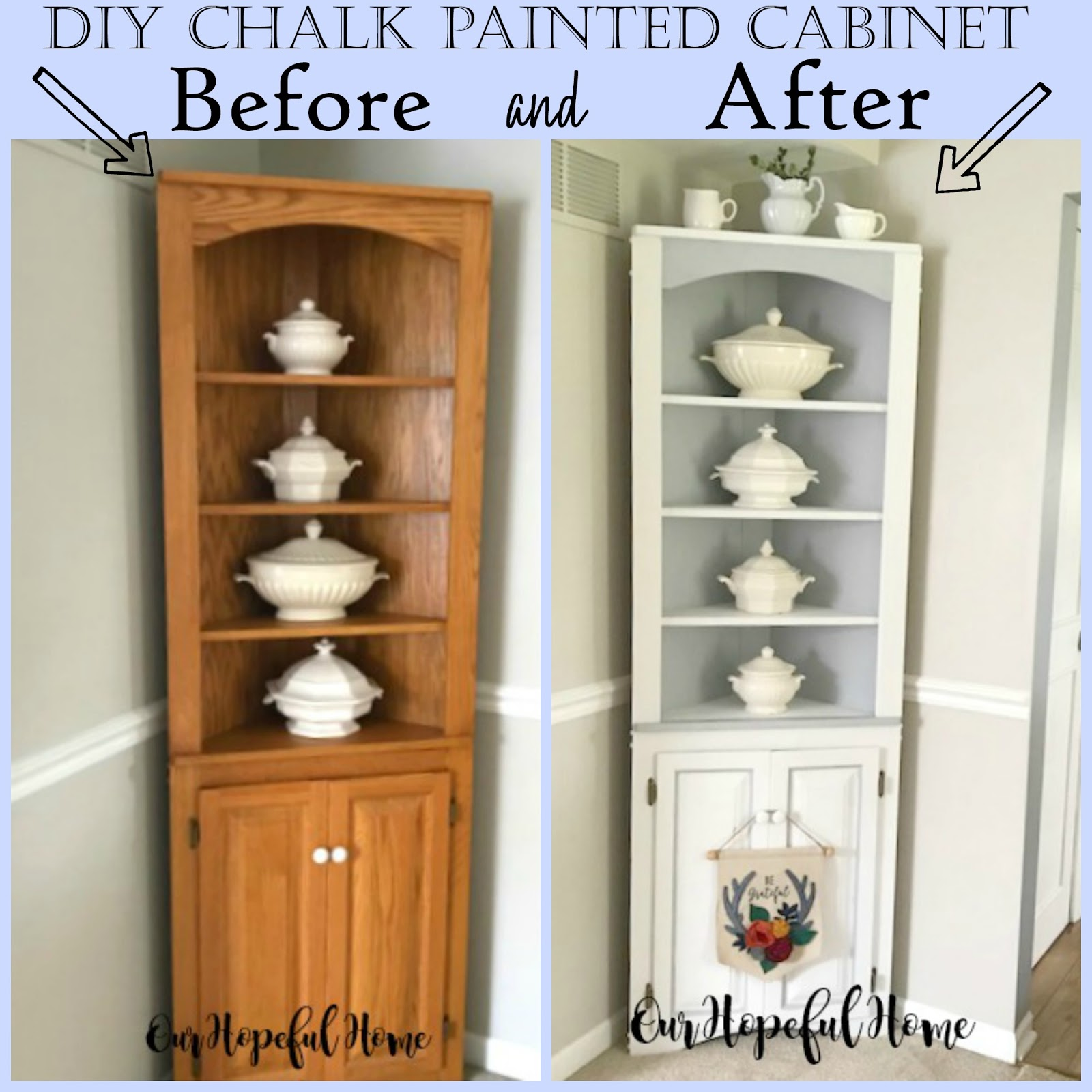Our Hopeful Home Diy Chalk Paint Corner Cabinet Styled With Ironstone