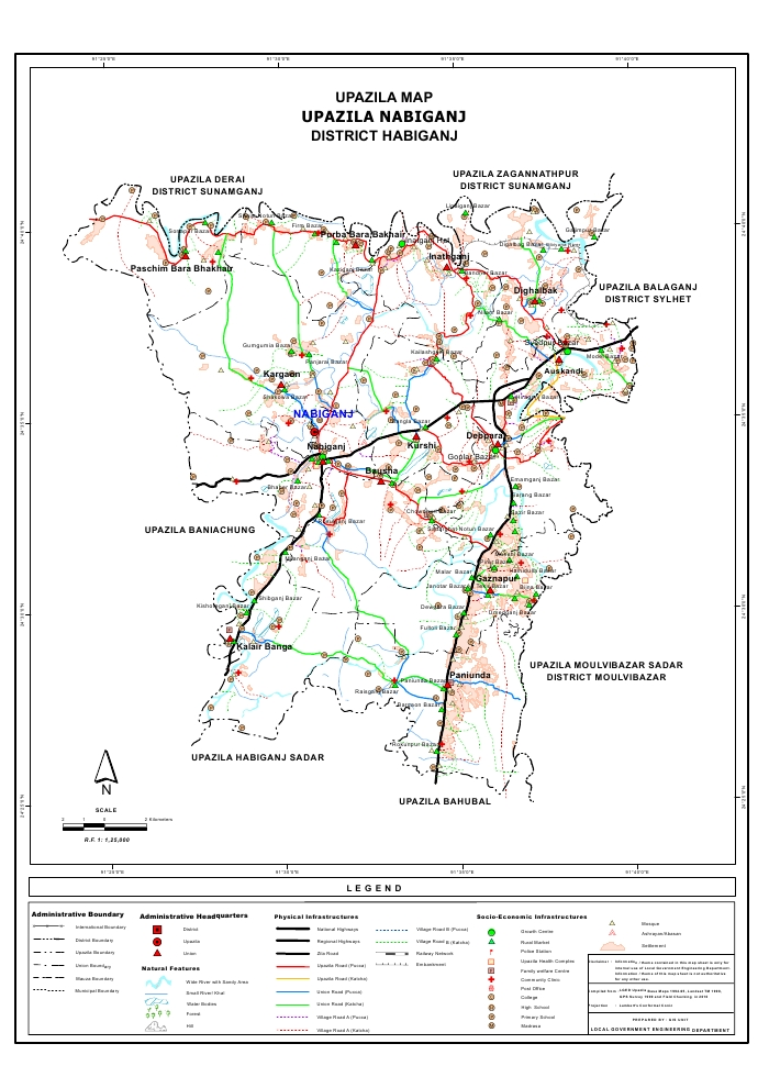 Nabiganj Upazila Map Habiganj District Bangladesh