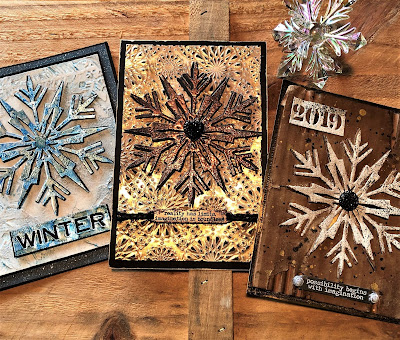 Mixed Media Techniques Tutorial by Sara Emily Barker for The Funkie Junkie Boutique https://frillyandfunkie.blogspot.com/2019/01/saturday-showcase-easy-mixed-media.html Tim Holtz Sizzix Alterations Ice Flake1