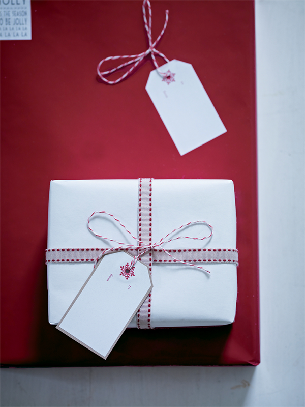 Grosgrain ribbon and double sided christmas gift wrap
