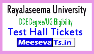Rayalaseema University DDE Degree/UG Eligibility Test Hall Tickets