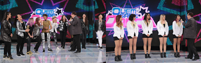 Raul Gil com os candidatos do Quem Sabe Dança. Os grupos Venus e Fix2U (Crédito: Rodrigo Belentani)