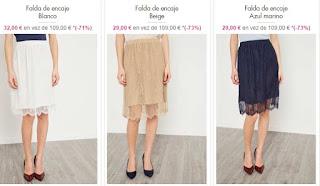 faldas de encaje en varios colores