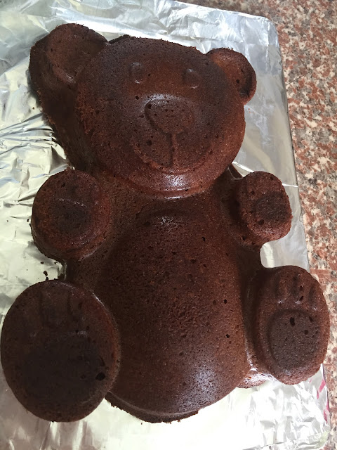teddy bear cake fresh from the mould