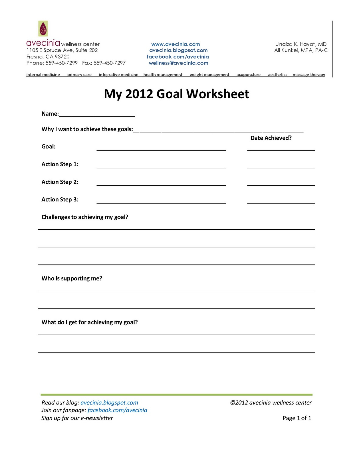 avecinia wellness center: Achieving your goals in 2012 ...