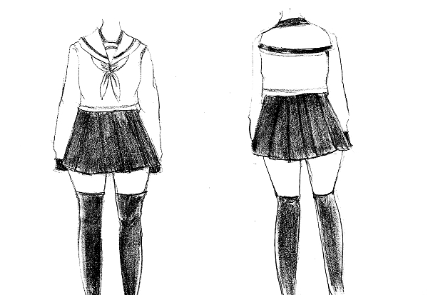 Cara  menggambar seragam manga cewek lengkap MAYAGAMI