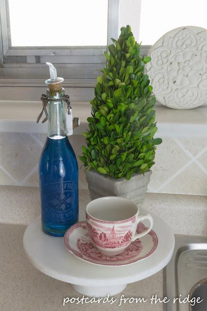 Dish soap in a pretty glass bottle. So pretty!