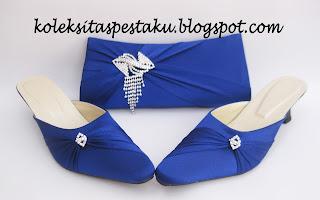 Slop dan tas pesta matching biru elektrik cakep buat acara pernikahan dan hantaran
