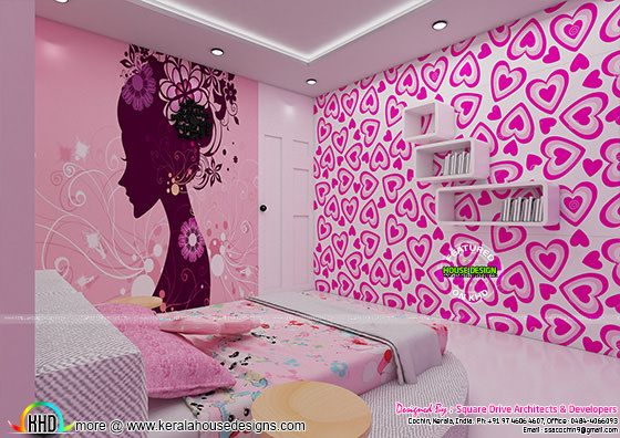 Pink color Girl bedroom interior