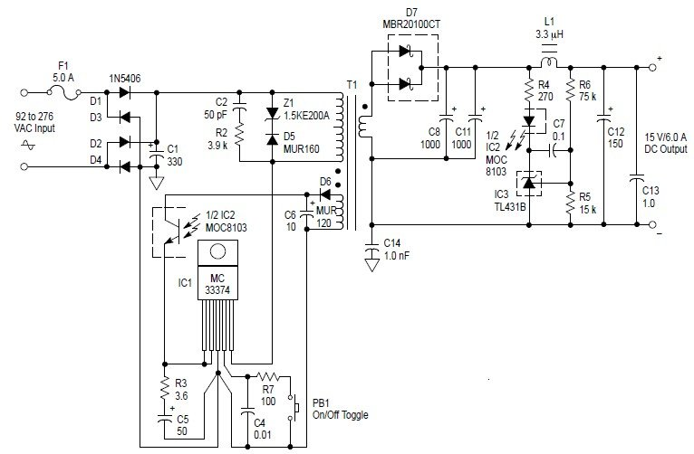 Free Circuit Diagrams: Switching Power Supply 90Watt