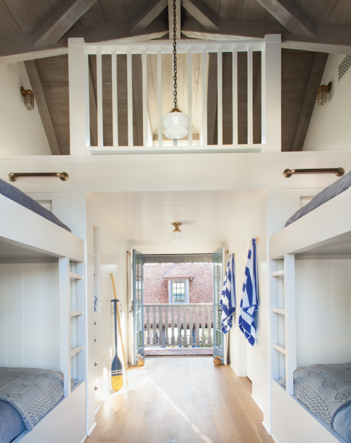 Breathtaking French Country modern farmhouse bunk room with loft by Giannetti Home - found on Hello Lovely Studio