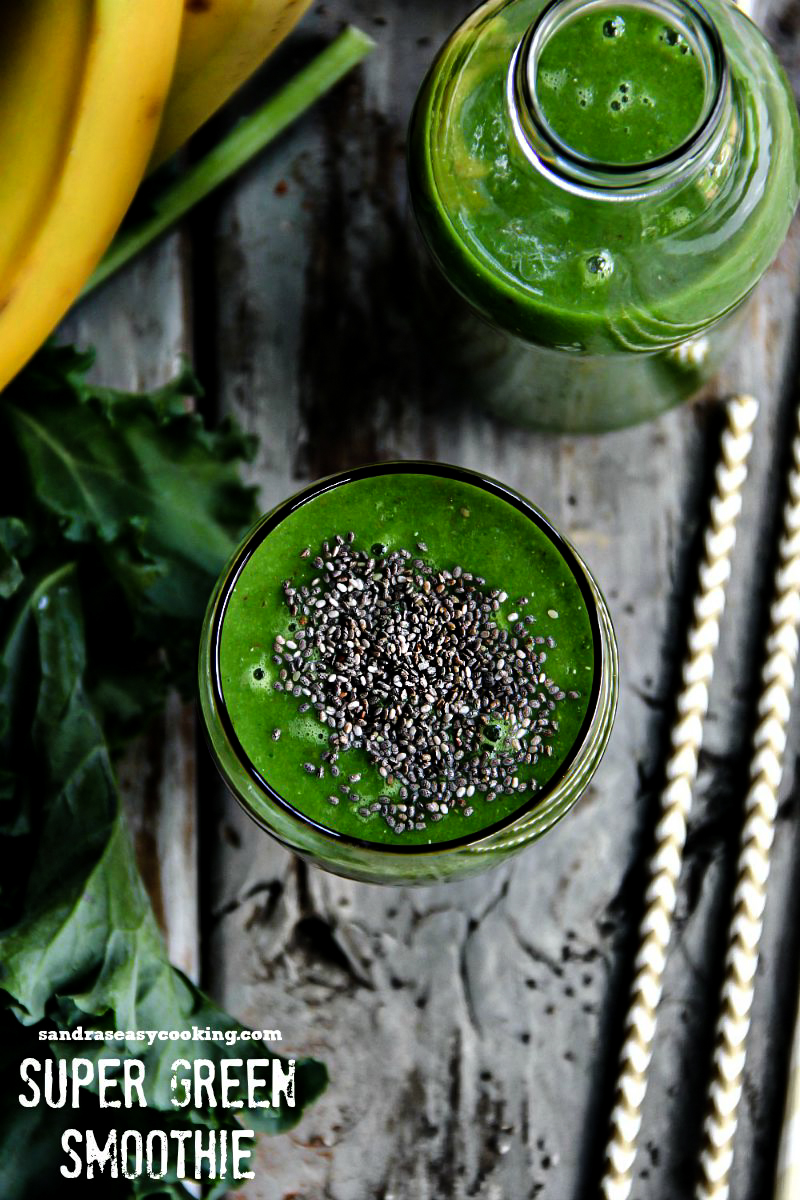 Super Green Smoothie with a video tutorial and health benefits.