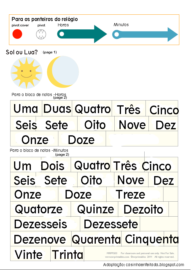 ensinando as horas em inglês português crianças atividade para casa relógio
