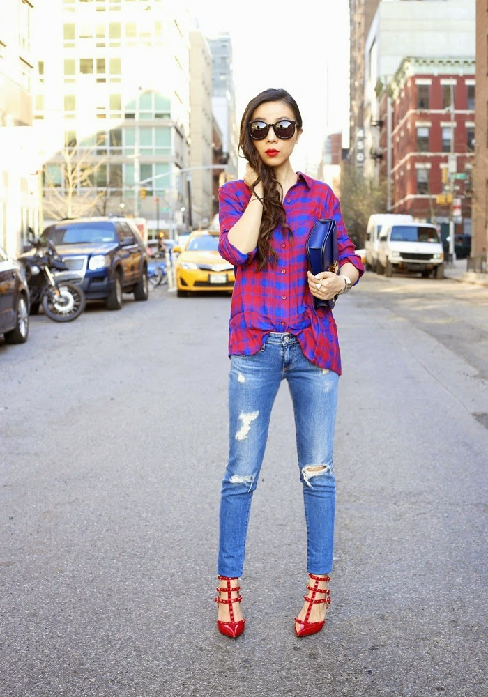 Open Back Plaid Blouse, karen walker super duper sunglasses, celine classic box bag, monica vinader monica baja chain bracelet, kendra scott rachel double ring, via maya, spring outfit, fashion blog, valentino rockstuds shoes, AG jeans