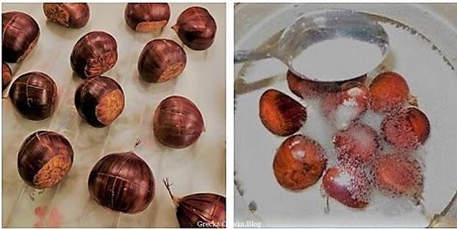 brązowe kasztany nacięte na krzyż, kasztany zanurzone w wodzie z cukrem