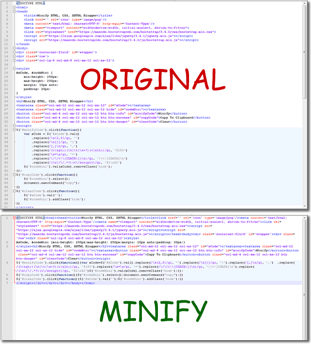 Minify HTML CSS XHTML Blogger