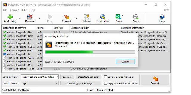 Switch Audio File Converter Software converting M4A files to MP3 in a batch conversion
