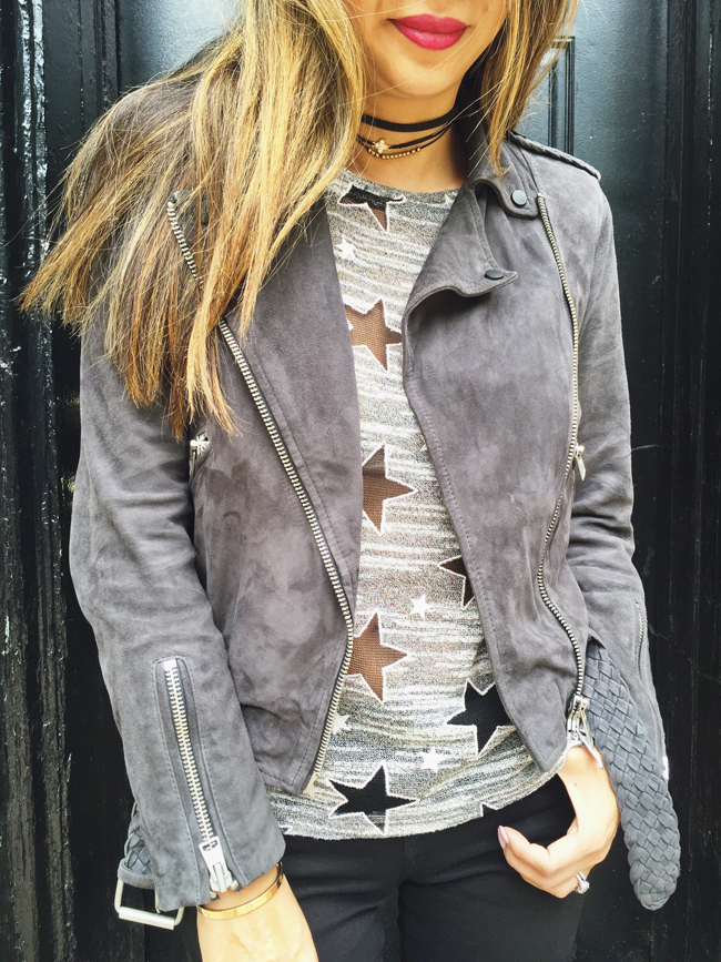 Suede Moto Jacket with Tee