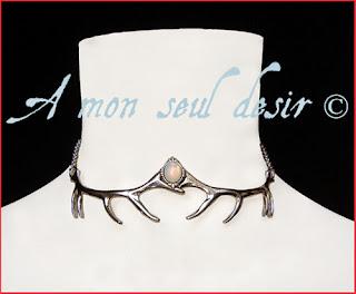 Collier Bois de Cerf argent hiver blanc opale white opal necklace Winter Antler