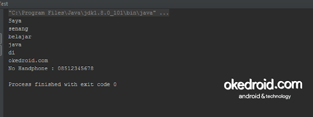Output Hasil Contoh Fungsi Method split() String Program Java