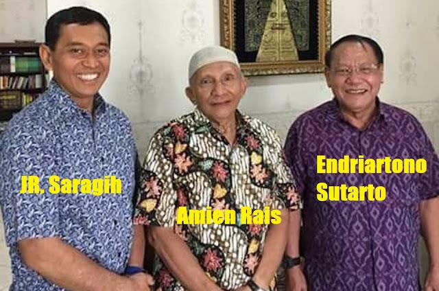 Jr Saragih ( foto kiri) bersama Amien Rais dan Mantan Panglima TNI Endriartono Sutarto