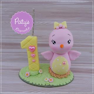 Topinho com vela Passarinho - festa temática de Jardim Encantado - Paty's Biscuit