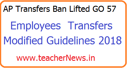 AP GO MS No 57 Ban Lifted on Transfers and Modified Guidelines on Transfers. AP Transfers Ban Lifted GO 57 – Transfers Modified Guidelines 2018