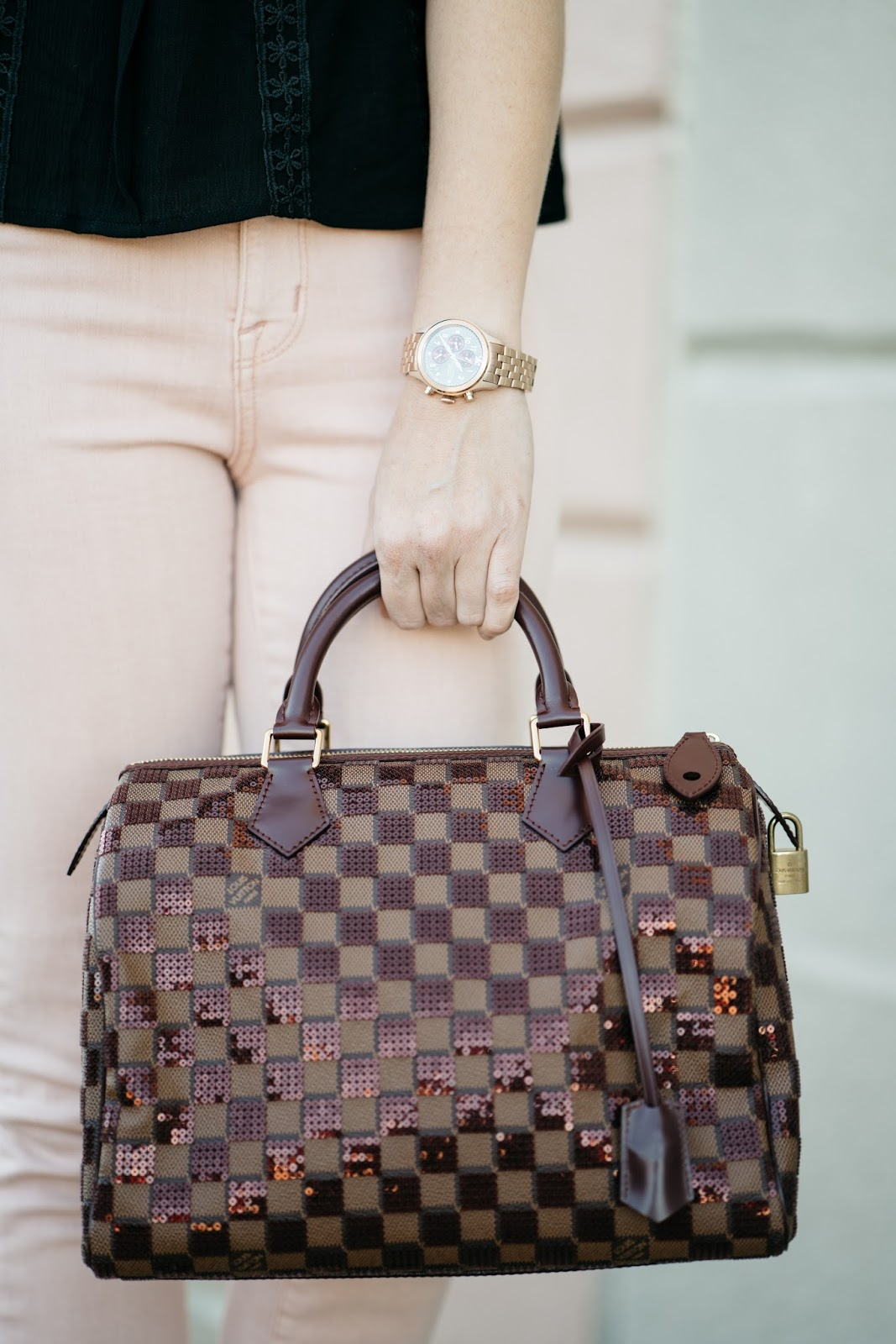 02711b435be5 What's better than a fancy designer bag? A fancy designer bag at a  discounted price! Trendlee recently sent me this Louis Vuitton Speedy  Damier bag to style ...