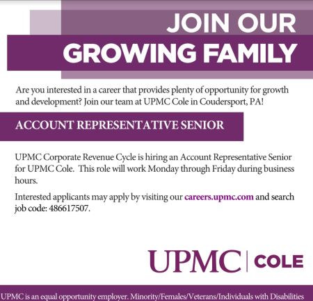 UPMC Cole Is Hiring An Account Representative Senior