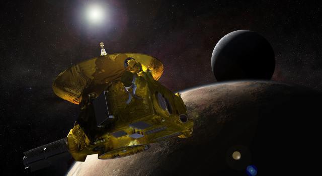 Artist's concept of New Horizons Approach to Pluto.