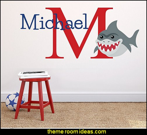 Custom Name Shark Wall Decal  Shark Bedrooms - shark murals - Shark Decor - shark wall decals - shark theme bedroom decorating ideas -  surfing theme bedrooms - surf shack bedrooms - shark bedding - nautical bedrooms - 3d shark wall decorations