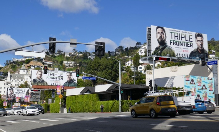 Triple Frontier movie billboards Sunset Strip