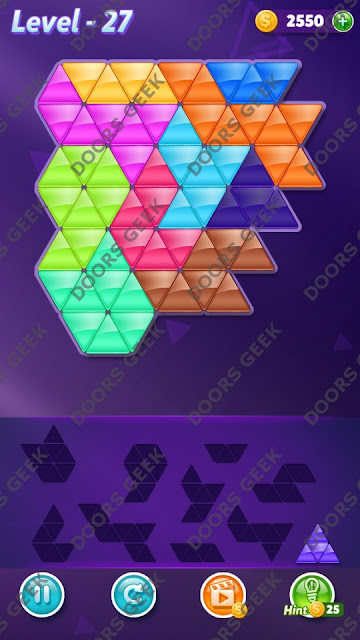 Block! Triangle Puzzle 10 Mania Level 27 Solution, Cheats, Walkthrough for Android, iPhone, iPad and iPod