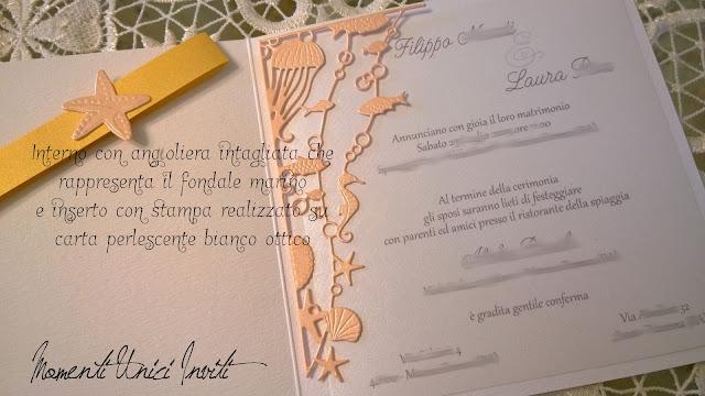 """0 Il mod. """"Brezza Marina"""" per Laura e FilippoColore Arancio Colore Bianco Colore Giallo Partecipazioni intagliate Tema mare"""