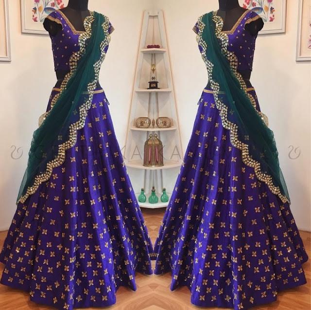 Purple Designer Lehenga by Geethika Kanumilli