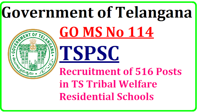 GO MS No 114 TSPSC Recruitment of 516 Posts in TS Tribal Welfare Residential Schools Govt of Telangana has given permission to Telangana Public Service Commission top Recruit 516 TGTs PETs Principals etc go-ms-no-114-tspsc-recruitment-of-516-tgt-pet-posts-tribal-residential-schools-telanganaPublic Services – Tribal Welfare Department - Recruitment – Filling of (516) Five Hundred and Sixteen vacant posts in Telangana Tribal Welfare Residential Educational Institutions Society (Gurukulam), through the Telangana State Public Service Commission, Hyderabad – Orders –Issued./2016/09/t-s-go-ms-no-114-tspsc-recruitment-of-516-posts-in-ts-tribal-welfare-residential-schools.html