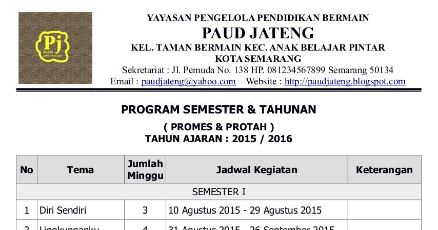 Contoh Pogram Semester Tahunan 2015 2016 Promes Protah Paud Jateng