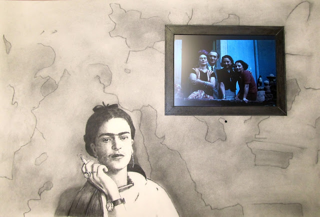 """Frida Smoking"" Charcoal and Conte with Embedded Electronics 24x36 inches by F. Lennox Campello"