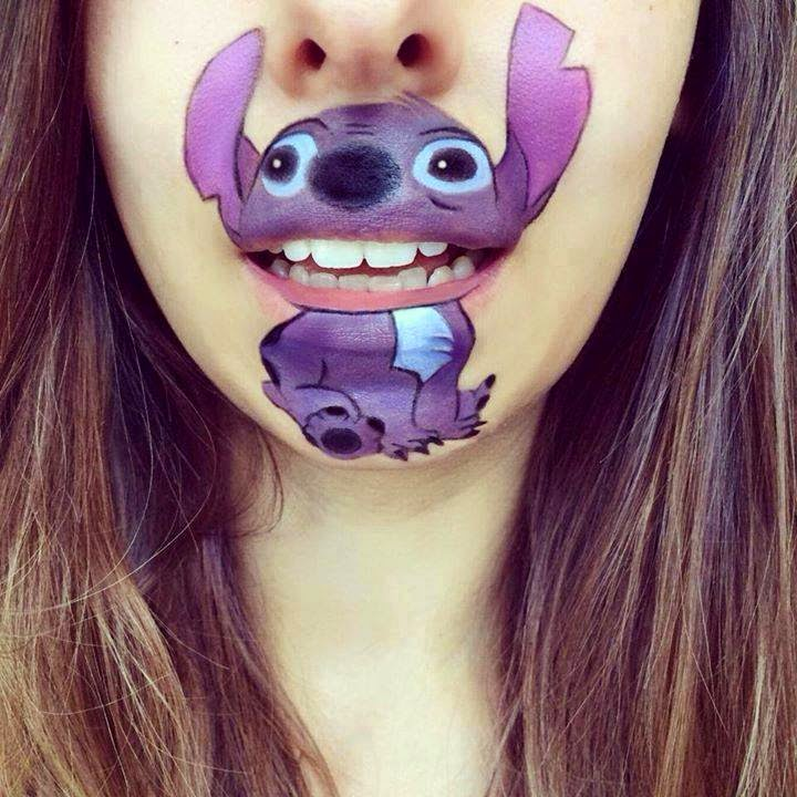 Lilo y Stich body paint boca