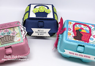Linda Vich Creates: Mini Egg Carton Easter Treats. Three cheerfully embellished mini egg cartons ready to share some Easter treats!
