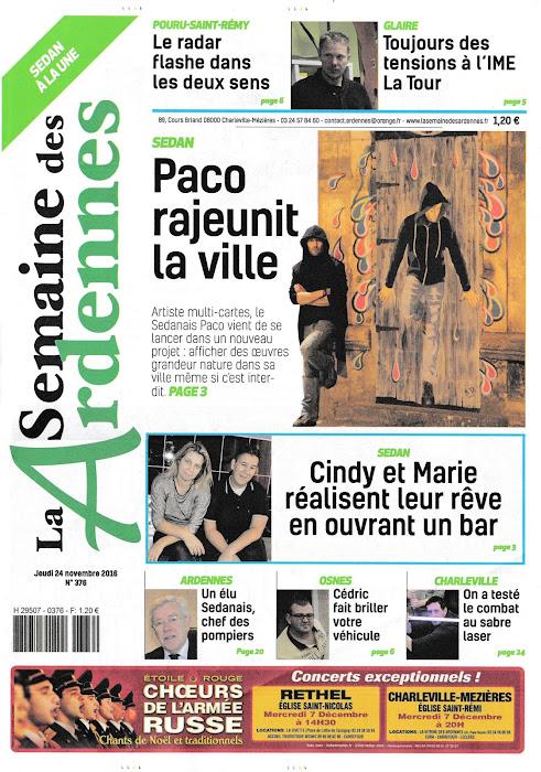 Une du journal la semaine des ardennes paco street artiste Sedannais