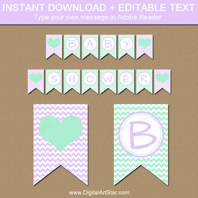 baby shower banner printable in lavender and mint chevron for girl baby shower or girl birthday party