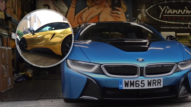 bmw i8 car wrapping in gold