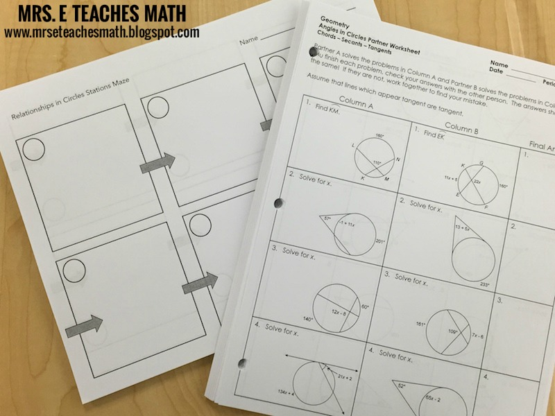 Circle Properties Review - activity ideas | mrseteachesmath.blogspot.com