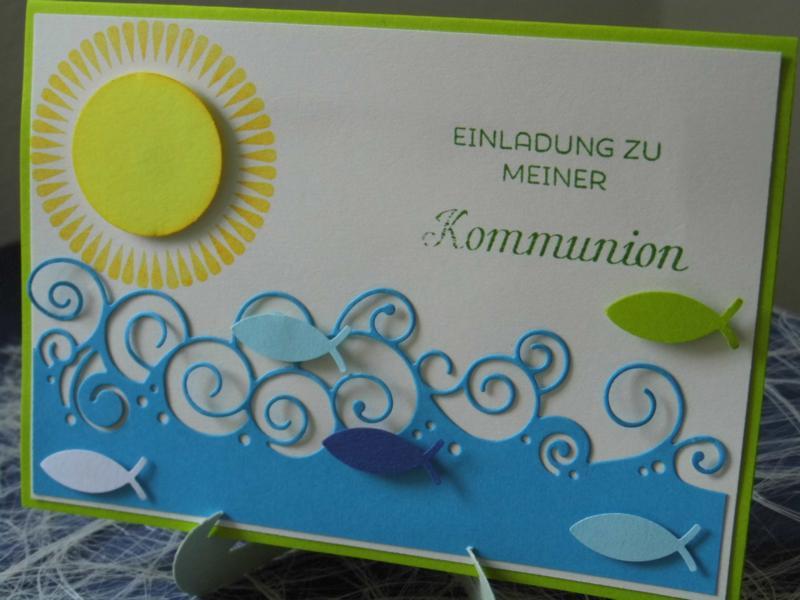 Kommunion/Taufe   Einladungskarte Zur Kommunion Mit Sonne III