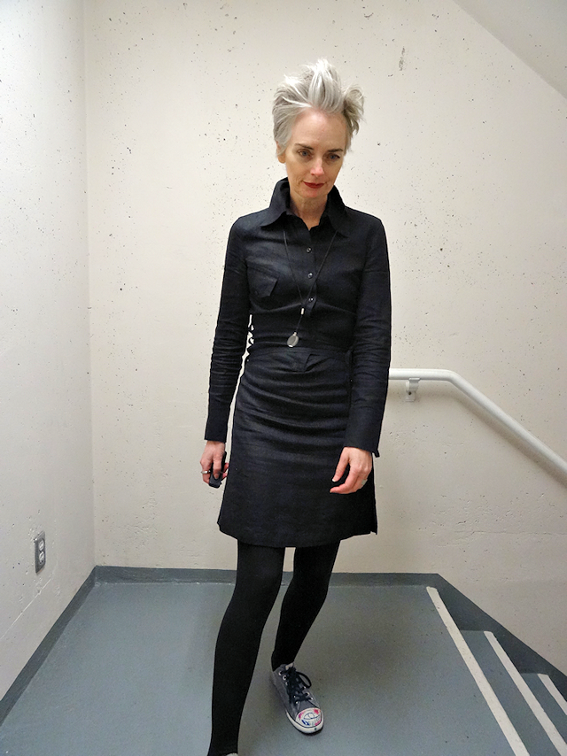 punky grey hair, Calvin Klein dress, Mel Kobayashi