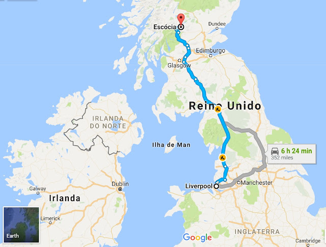 Viagem de Liverpool a Escócia