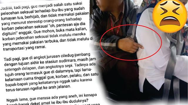 Wanita Ini Kaget Lihat Seorang Pria Lecehkan Ibu-ibu Tua Di Angkot Sampai Gemetaran