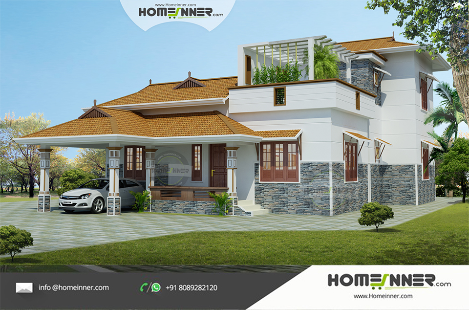 Traditional 3 Bhk Attractive Kerala House Design in 1745 sqft