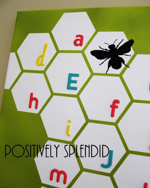 Positively Splendid Crafts: Honeycomb Nursery Wall Canvas Tutorial
